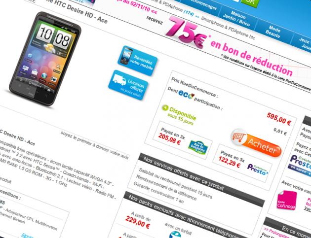 HTC Desire HD rueducommerce