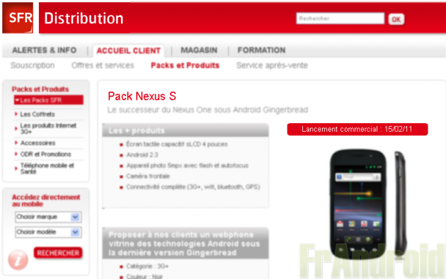Le Google Nexus S en vente chez SFR dès le 15 février