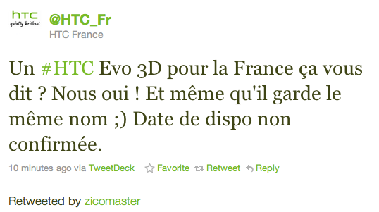tweet htc france evo 3d