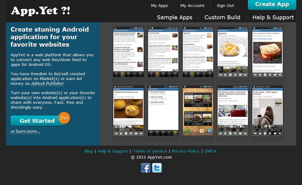 site pour créer une application