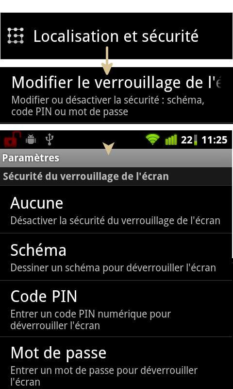 Paramètre verrouillage Android
