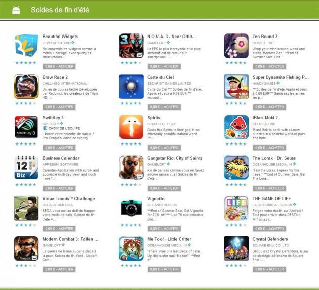 Google play une s lection d 39 applications et de jeux en - La fin des soldes ...