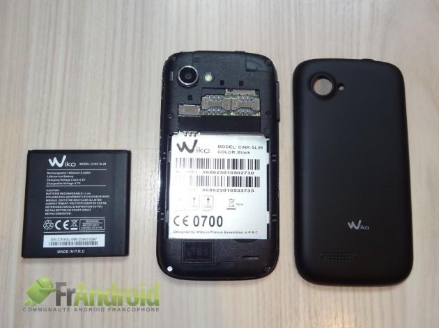 wiko-cink-slim-ouvert batterie sim1 sim2 microSD