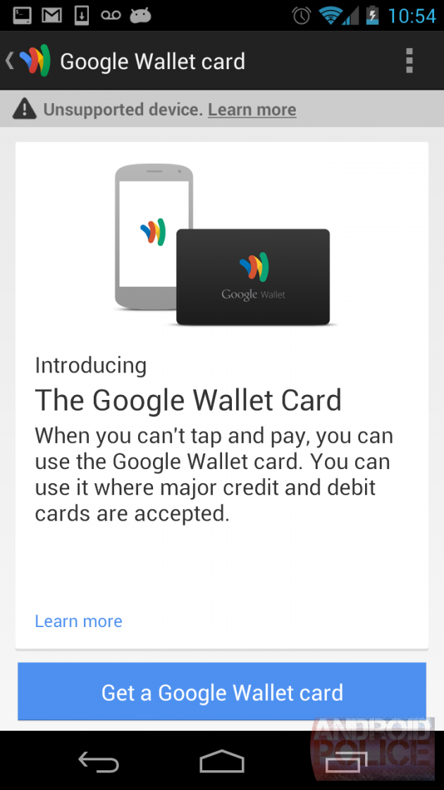 Commande de carte Google Wallet