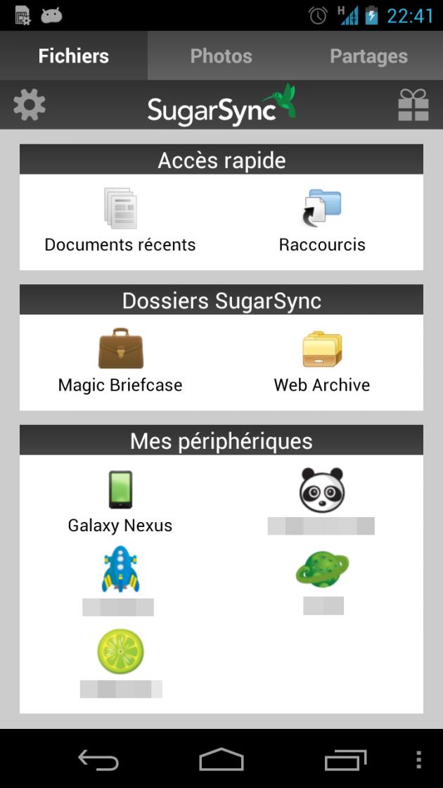 Ancienne version de SugarSync sur Android