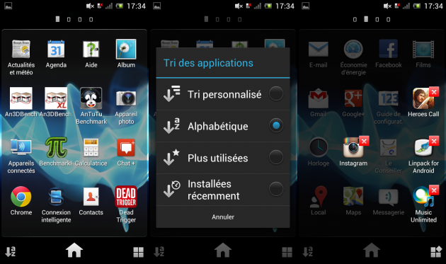Test du Sony Xperia J - Android - Lanceur d'applications