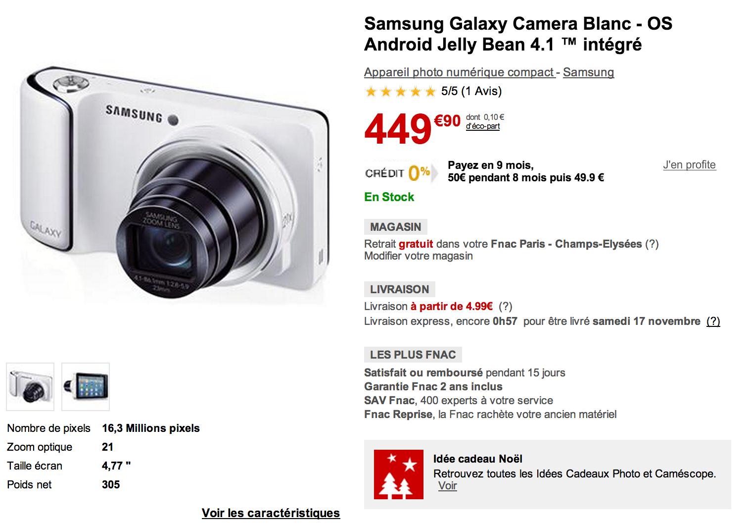 la samsung galaxy camera est disponible 349 apr s odr frandroid. Black Bedroom Furniture Sets. Home Design Ideas