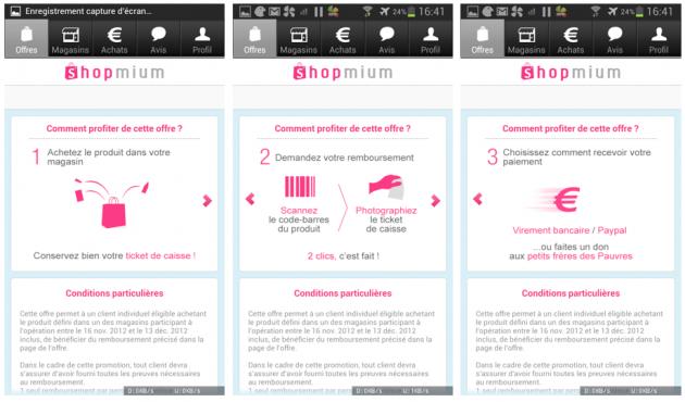 Shopmium sur Android