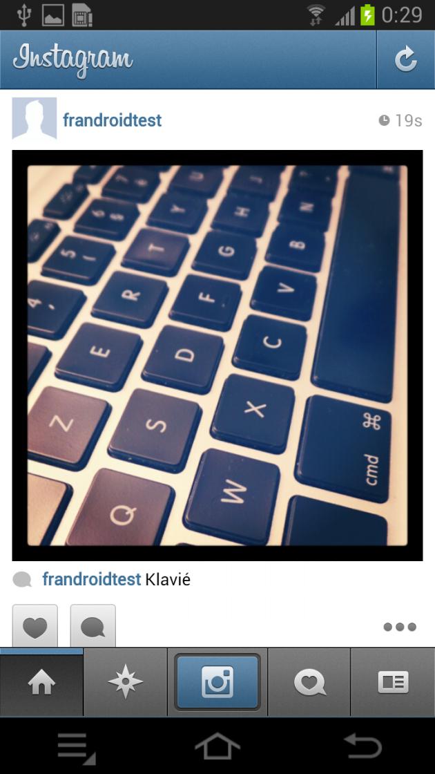 Ecran instagram flux Samsung