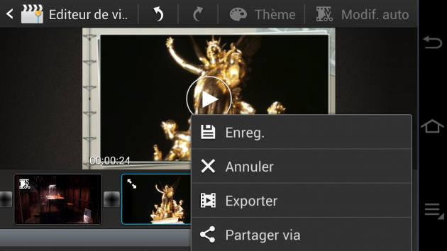 Ecran video export Samsung