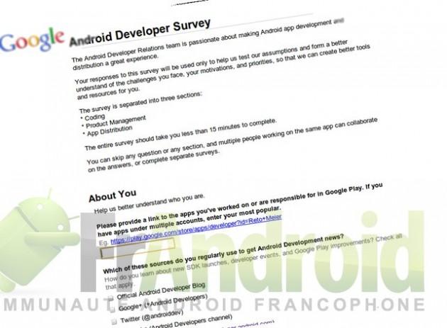 Enquete satisfaction développement Android
