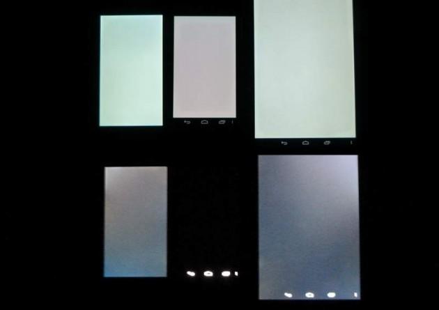 Affichage écran blanc / noir, de gauche à droite, LG Optimus L9, Galaxy Nexus, Nexus 7