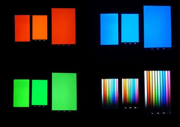 Affichage écran couleurs, de gauche à droite, LG Optimus L9, Galaxy Nexus, Nexus 7