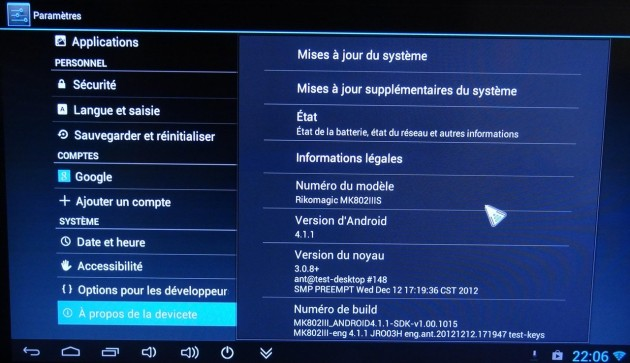 android mini pc rk802IIIS-informations systeme