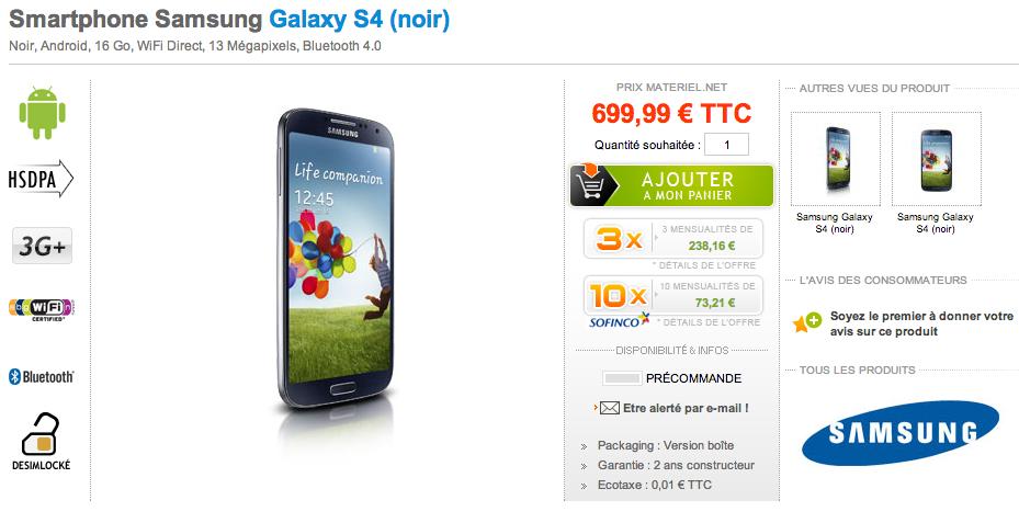 prix du galaxy s4 650 euros 700 euros qui dit mieux