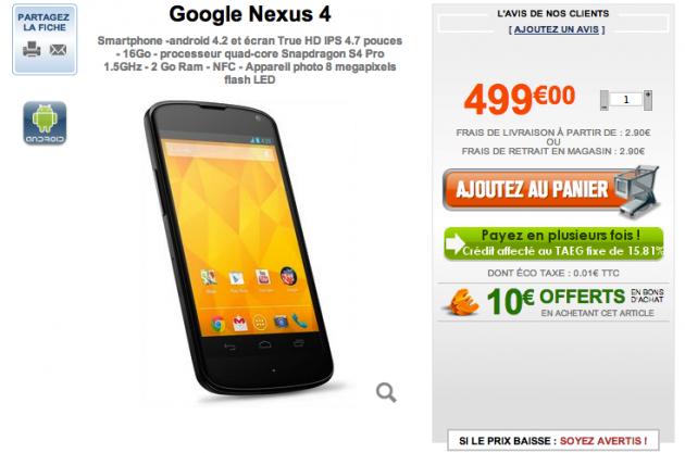 Nexus 4 chez GrosBill