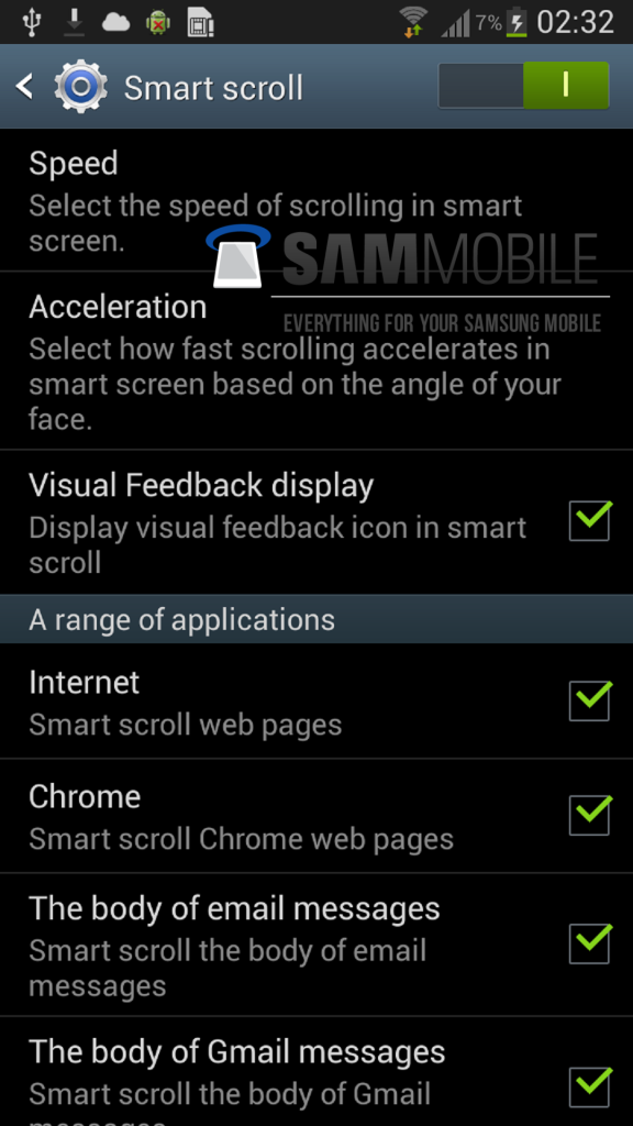 Samsung smart scroll