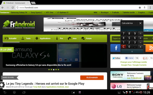 Small Apps - Test de la Xperia Tablet Z