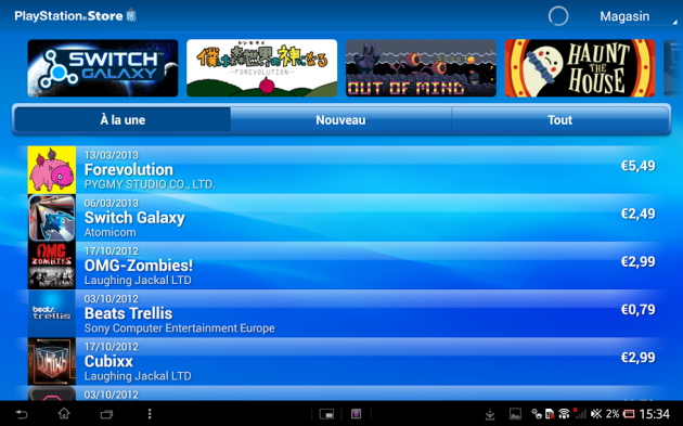 Playstation mobile - Test de la Xperia Tablet Z