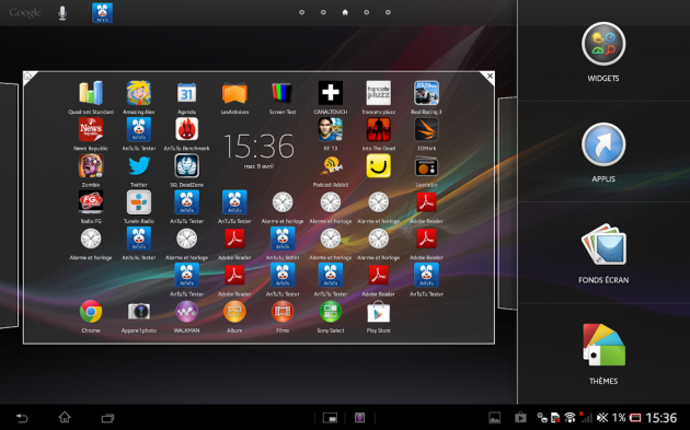 Bureau Android - Test de la Xperia Tablet Z