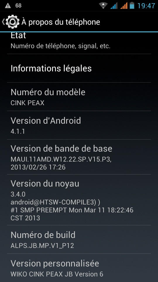 android 4.1.1 jelly bean wiko cink peax