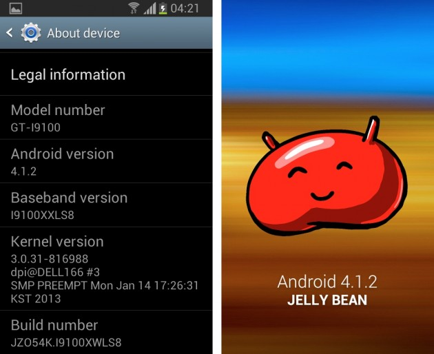android 4.1.2 jelly bean samsung galaxy s II gt-i9100p