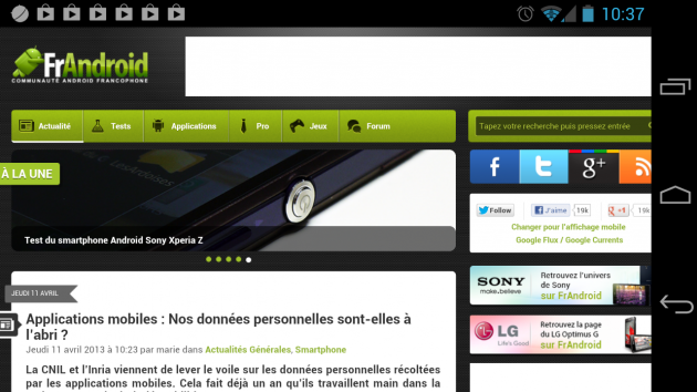 android chrome beta 27