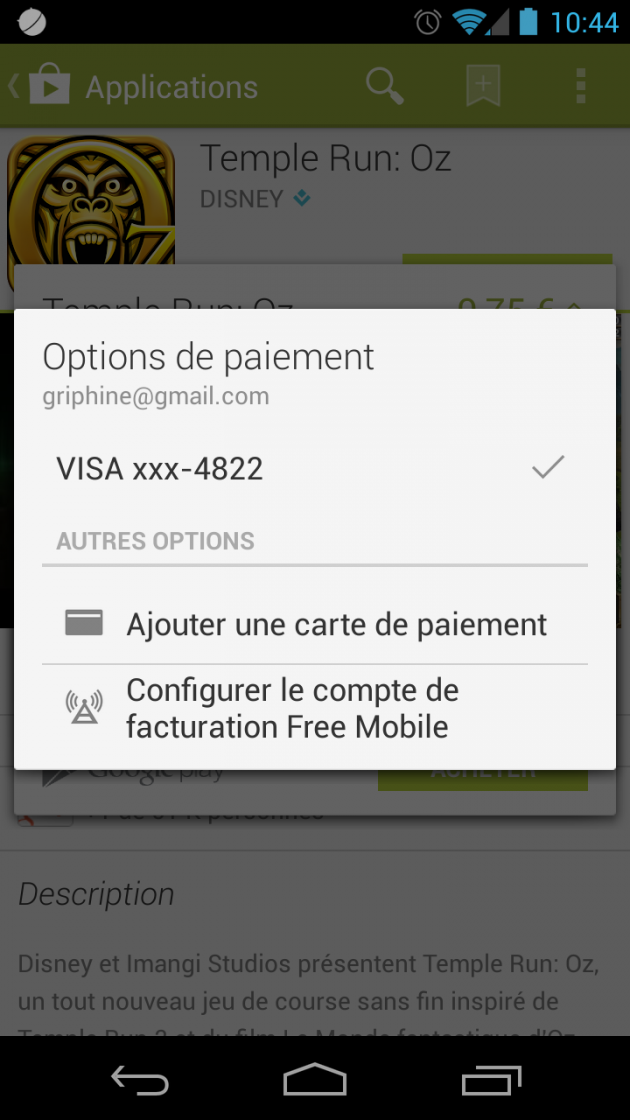android google play paiement opérateur