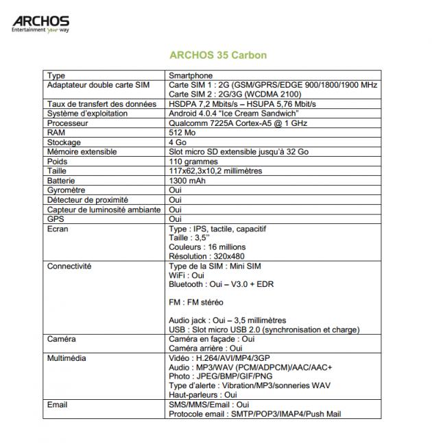 archos 35 carbon caractéristiques techniques