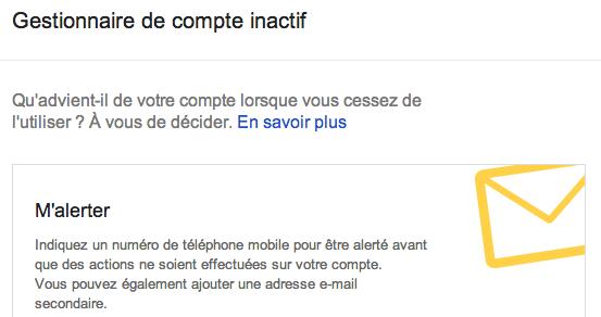 google gestionnaire de compte inactif