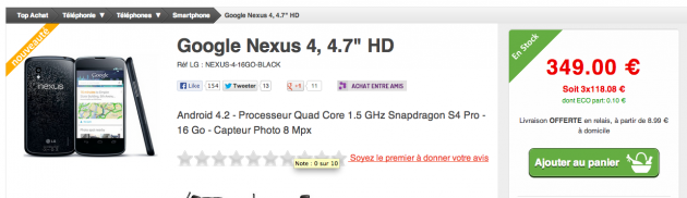 Top Achat - Nexus 4