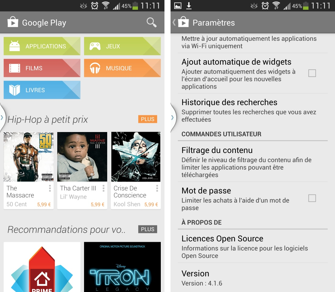 play store pour tablette android 4.1.1