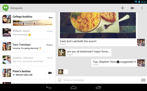 android hangouts by google tablette