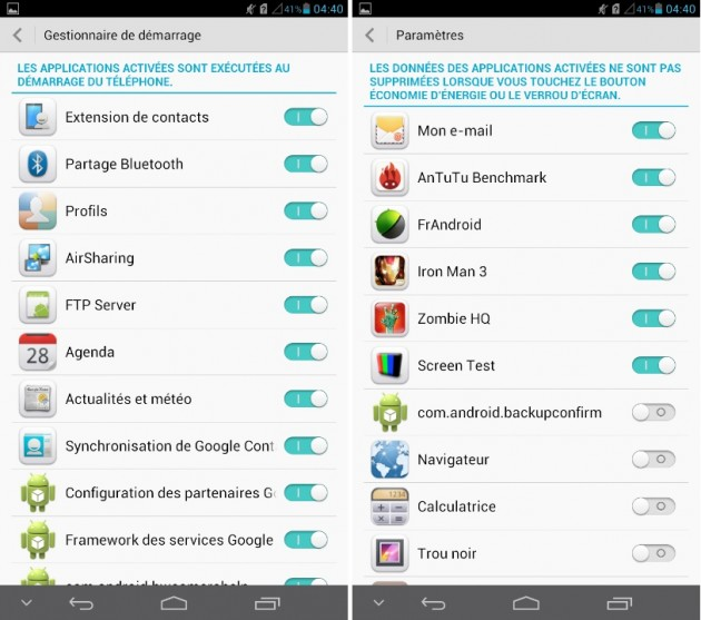 android huawei ascend mate applications à masquer