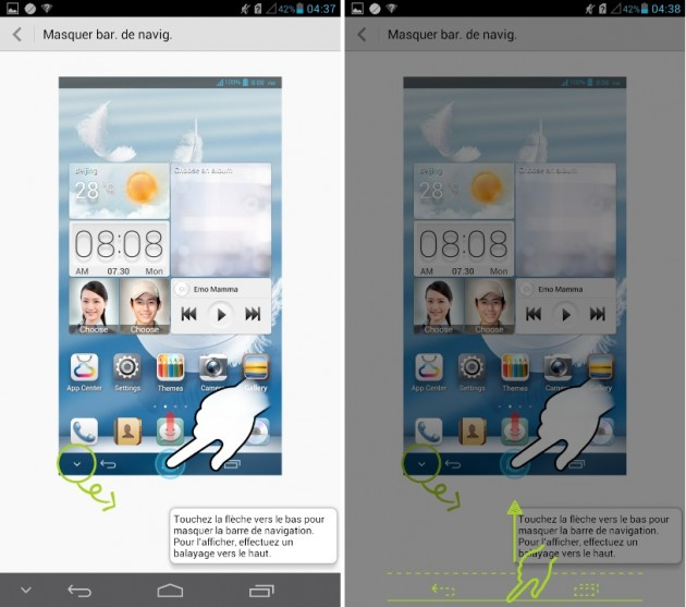 android huawei ascend mate cacher barre d'actions rapides