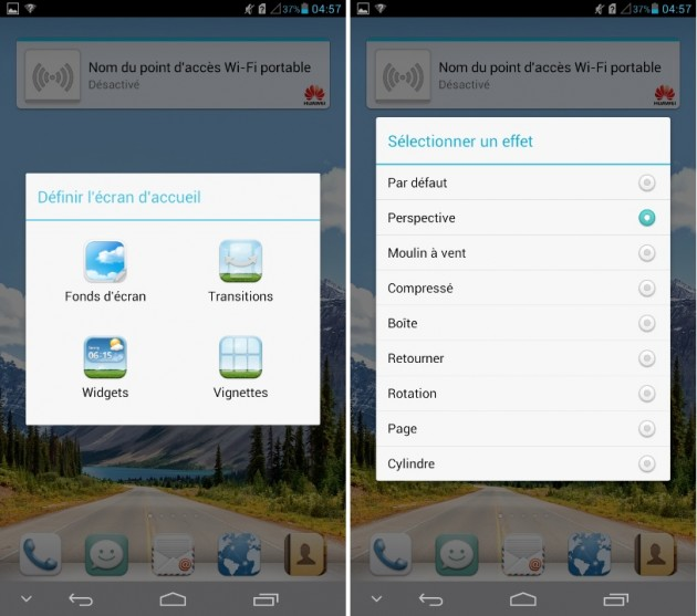 android huawei ascend mate effets de transition