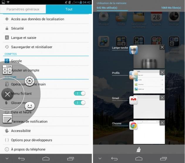 android huawei ascend mate menu flottant et multitâches