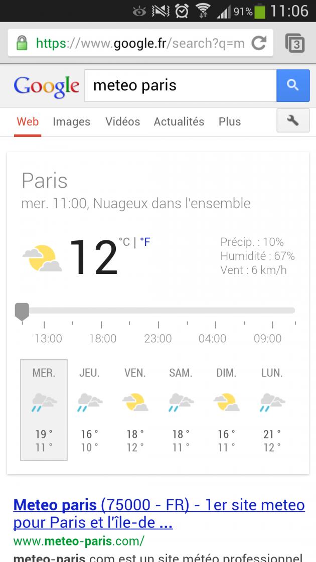 android ios google now navigateur web mobile prévisions météorologiques