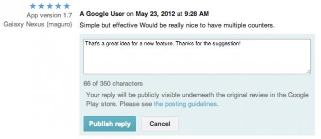 google play store developpeurs réponses aux commentaires applications