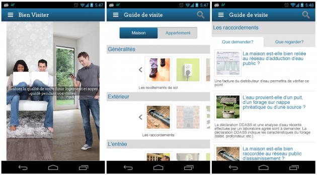application Bien visiter sur Android