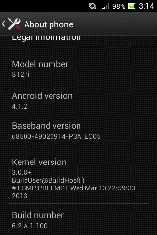 android 4.1.2 jelly bean sony xperia go st26i