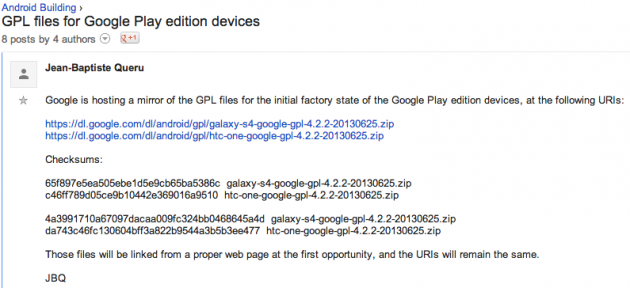 android code source gpl google play editions htc one samsung galaxy s4