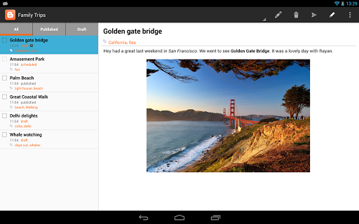 android google blogger support tablette