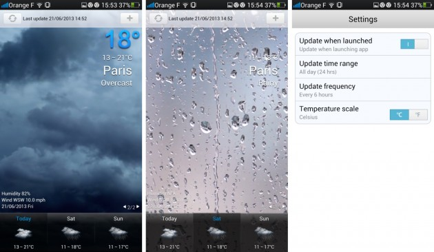 android oppo find 5 weather meteo app widget