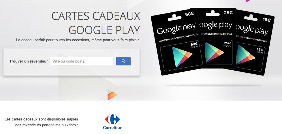Carte Carrefour Prepayee.Des Cartes Cadeau Google Play Chez Carrefour Frandroid