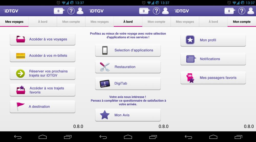 L'application iDTGV est maintenant disponible sur Android