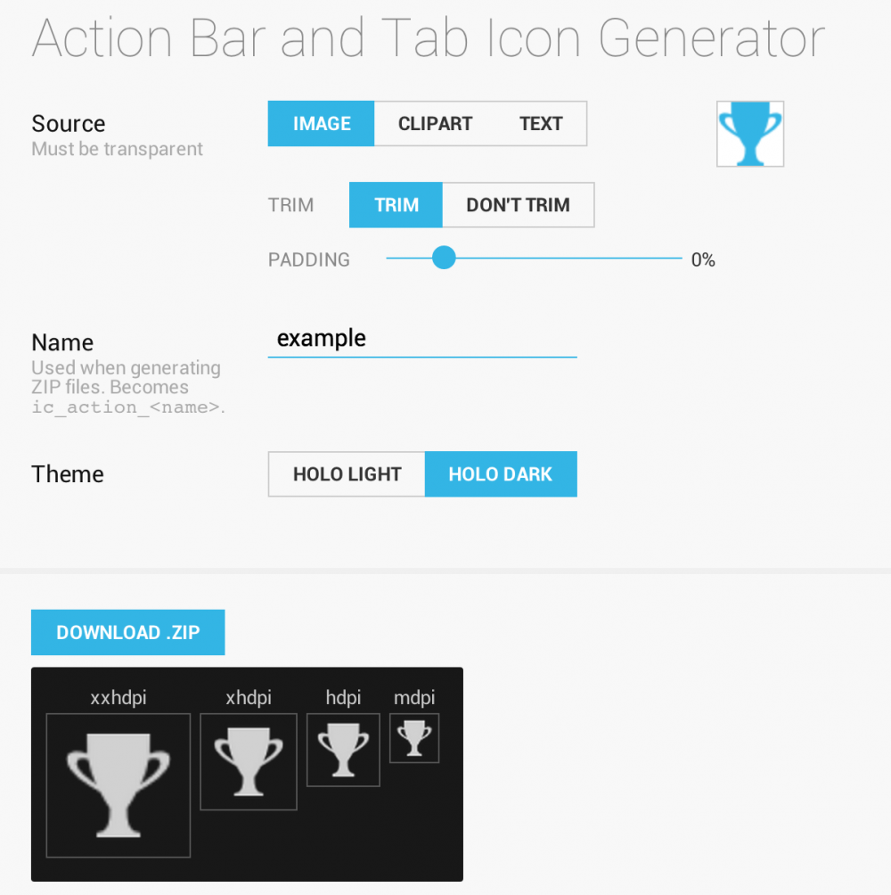 Android Asset Studio - Action Bar and Tab Icon Generator