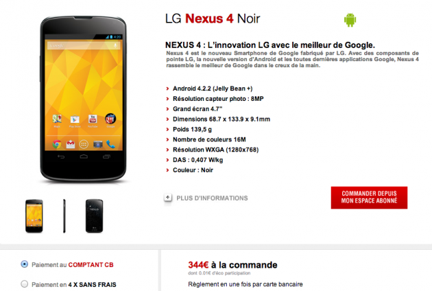 android free mobile google lg nexus 4