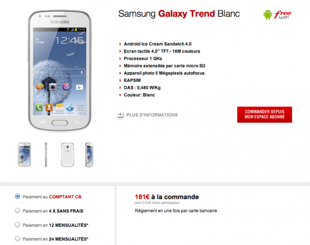 android free mobile samsung galaxy trend blanc white