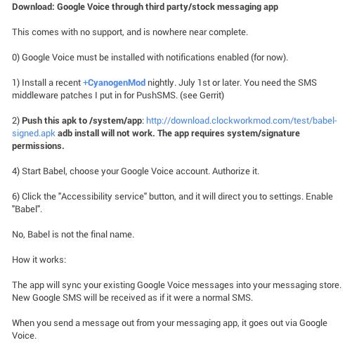 Google Voice dans CyanogenMod 10.1